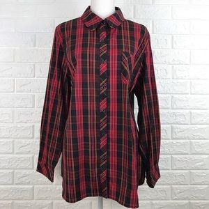 Susan Graver Plaid Long Sleeve Button Shirt 16